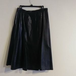 Woman's Black Leather A-Line Skirt